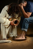 Jesus Washing Feet of Man — Foto Stock