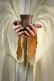 Jesus Hands Holding Cup — Stock Photo