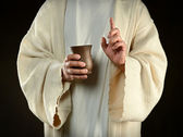 Jesus Holding Cup of Wine — Stock Photo