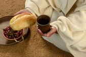 Jesus Hands Holding Bread and Wine — Stock Photo