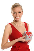 Young Woman Holding Gift Box — Stock Photo