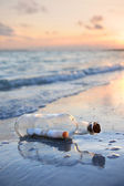Message in a Bottle at Sunset — 图库照片