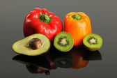 Fruits and Vegetables on Reflective Surface — Stock Photo
