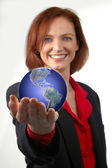 Businesswoman Holding the Earth — Stock Photo