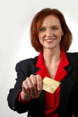 Woman Holding Credit Card — Stock Photo