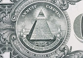 Part of one dollar note with great seal — Stock Photo