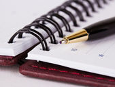 Expensive black and gold pen on datebook — Stock Photo