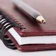 Stockfoto: Black and gold pen on brown notebook