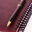 Black and gold expensive pen lying on closed spiral notebook — Stockfoto