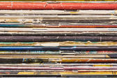 Closeup view of old magazines pile end, maybe used as background — Stock Photo