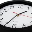 Closeup perspective view of classic black and white wall clock — Stock Photo