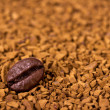 Coffee bean on instant coffee granules — Stock Photo
