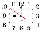 Figures noires, des numéros et les mains de mur horloge sur cadran blanc — Photo