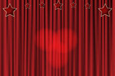 Red curtain background with stars and spotlights in the center — Stock Vector