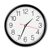 Classic round wall clock isolated on white. Vector illustration. — Stock Vector