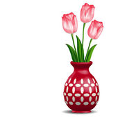 Red vase with pink tulips posy isolated on white — Stock Vector