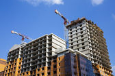 View from below on domestic building that is under construction — Stock Photo