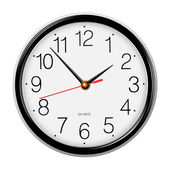 Simple classic round wall clock isolated on white — Stock Vector