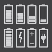 Conjunto de indicadores de nível de carga da bateria isolado no cinza — Vetor de Stock