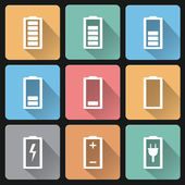 Vector flat design battery charge icons on pastel colors backgro — Stock Vector