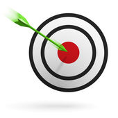 Hedef - başarı iş kavramı ortasına vurmak ok — Stok Vektör