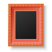 Red wooden frame with gold patterns for picture or text — Stock Vector