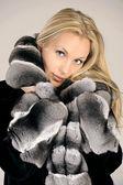 Beautiful young woman in fur coat — Stock Photo
