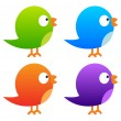 Collection of colour twitter birds — Stock Vector
