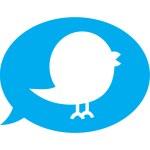 Twitter bird inside blue speech bubble — Stock Vector