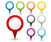 Conjunto de redondo 3d mapa de ponteiros — Vetorial Stock