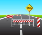 Under construction of road 3d — Stock Vector