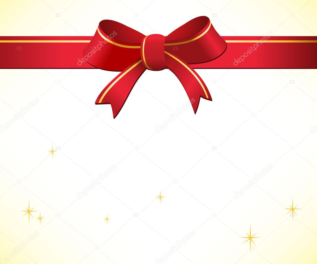 Christmas background with red bow and ribbon — stock