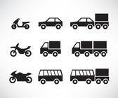 Icon set of motor road vehicles — Stock Vector