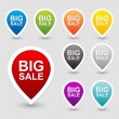 Colorful sale tags icon set — Stock Vector