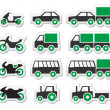 Green transport and travel icons set — Stock Vector #27665741