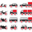 Red transport and travel icons set — Stock Vector #27665743