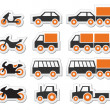Orange transport and travel icons set — Stock Vector