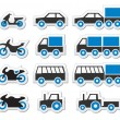 Stock Vector: Blue transport and travel icons set