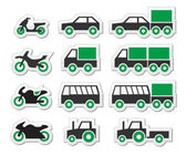 Green transport and travel icons set — Stock Vector