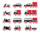 Red transport and travel icons set — Stock Vector
