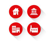 Red building icon set — Stock Vector