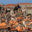 Panorama of Dubrovnik in Croatia at sunrise, travel background — Stock Photo