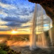 Stock Photo: Seljalandfoss waterfall at sunset in HDR, Iceland
