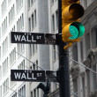 Wall street signs with a green traffic, New York — Stock Photo #12851594