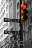 Crisis on the way, photo of Wall street signs with a red traffic light — Stock Photo
