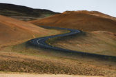 Ring road in a desert land, Iceland — Stock Photo