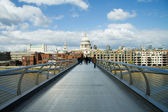 St Pauls cathedral view from the Millennium Bridge, London — Stock Photo