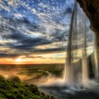 Seljalandfoss waterfall at sunset in HDR, Iceland — Stock Photo #13906354