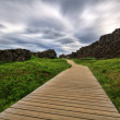 Stock Photo: Wood path in canyon, Thingvellir NP, Iceland