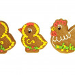 Easter Gingerbread Chickens with Fowl Isolated on White — Stockfoto #22451827